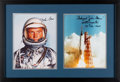 Explorers:Space Exploration, Mercury Seven: John Glenn Signed Silver Spacesuit Color Photo Matted and Framed with a Launch Color Photo Signed by Scott ...