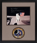 Explorers:Space Exploration, Edgar Mitchell Signed Apollo 14 Lunar Surface Flag Color Photo Matted and Framed with a Lion Brothers Embroidered Mission Insi...