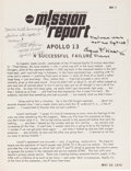 """Explorers:Space Exploration, Apollo 13: """"NASA Mission Report"""" Signed by Fred Haise and Gene Kranz, Both with Added Quotes. ..."""