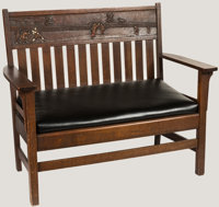 Stickley-Themed Bench Seat with Baseball Seatback