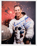 Explorers:Space Exploration, James Lovell Signed Apollo 13 White Spacesuit Color Photo with Added Famous Quote. ...
