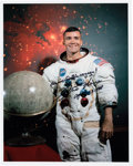 Explorers:Space Exploration, Fred Haise Signed Apollo 13 White Spacesuit Color Photo with Added Mission Comment. ...