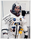 Explorers:Space Exploration, Fred Haise Signed Apollo 13 Launch Day White Spacesuit Color Photo. ...