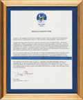 Explorers:Space Exploration, Apollo 11 Flown Kapton Foil Segment on Letter of Authenticity Signed by Buzz Aldrin, in Framed Display....