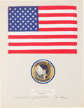 Explorers:Space Exploration, Apollo 12 Lunar Module Flown Large Size American Flag on a Crew-Signed Presentation Mat Directly from the Family Collection o...