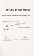 Explorers:Space Exploration, Harrison Schmitt Signed Book: Return to the Moon. ...