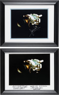 Explorers:Space Exploration, Apollo 13: James Lovell and Fred Haise Individually Signed Damaged Service Module Photos in Matching Framed Displays. ... (Total: 2 Items)