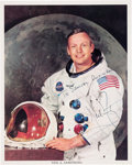 Explorers:Space Exploration, Neil Armstrong Signed and Inscribed White Spacesuit Color Photo. ...