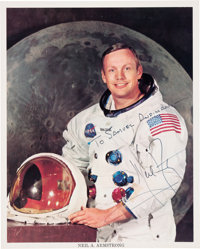 Neil Armstrong Signed and Inscribed White Spacesuit Color Photo