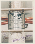 "Explorers:Space Exploration, Apollo 11 Crew-Signed Vintage NASA ""Red Number"" Lunar Plaque Color Photo. ..."