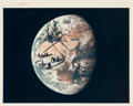 "Explorers:Space Exploration, Apollo 11 Crew-Signed Vintage NASA ""Red Number"" Earth During Trans-Lunar Coast Color Photo. ..."