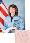 Explorers:Space Exploration, Space Shuttle Challenger (STS-51-L): Christa McAuliffe Autograph Note Signed to a Former Stu...