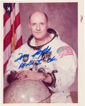 "Explorers:Space Exploration, Tom Stafford Signed Apollo 10 White Spacesuit ""Red Number"" Color Photo. ..."
