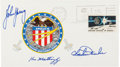 Explorers:Space Exploration, Apollo 16 Crew-Signed Insurance Cover Originally from the Personal Collection of Mission Commander John Young, Signed and Cert...