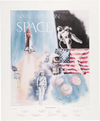"Robert L. Rasmussen Signed Limited Edition ""Naval Aviation in Space"" Print, #637/1000, Signed by Nine Astronau..."