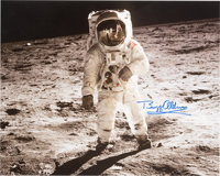 "Buzz Aldrin Signed Large Apollo 11 Lunar Surface ""Visor"" Color Photo with Novaspace COA"