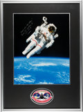 Explorers:Space Exploration, Bruce McCandless II Signed Large STS-41-B Untethered Spacewalk Color Photo in Framed Display with Embroidered Challenger...