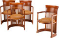 Furniture, Frank Lloyd Wright (American, 1867-1959). Four Taliesin Barrel Armchairs, designed 1937, Cassina. Leather upholstery, ch... (Total: 4 Items)