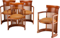 Frank Lloyd Wright (American, 1867-1959) Four Taliesin Barrel Armchairs, designed 1937, Cassina Leather upholstery, ch...