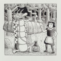 Works on Paper, Kim Deitch (American, 1944). Pair of Alice illustrations. Ink on board. 8 x 7-3/4 inches (20.3 x 19.7 cm) (image, larges... (Total: 2 Items)
