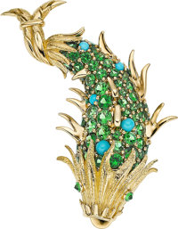 Tsavorite Garnet, Turquoise, Gold Brooch, Schlumberger for Tiffany & Co