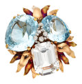 Estate Jewelry:Brooches - Pins, Retro Topaz, Diamond, Gold Brooch, Cartier . ...