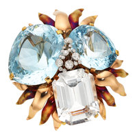 Retro Topaz, Diamond, Gold Brooch, Cartier