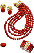 Estate Jewelry:Suites, Diamond, Gold, Red Coral Suite, Tallarico The ...
