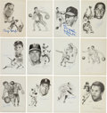 Baseball Collectibles:Others, 1967-79 Sports Hall of Fame Signed Sketches Set of 95 with 51 Signed. ...