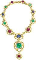 Estate Jewelry:Necklaces, Multi-Stone, Diamond, Platinum, Gold Necklace, David Webb. ...