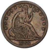 1866-S 50C Motto VF30 PCGS. CAC. PCGS Population: (29/126 and 0/0+). NGC Census: (7/67 and 0/0+). CDN: $160 Whsle. Bid f...