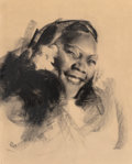 """Works on Paper, Rolf Armstrong (American, 1889-1960). Portrait of Rebekah Louisa Hooper """"Ma Hoops"""". Charcoal on paper. 19-3/4 x 15-1/2 i..."""