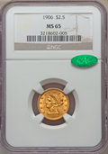 Liberty Quarter Eagles: , 1906 $2 1/2 MS65 NGC. CAC. NGC Census: (548/348). PCGS Population: (644/390). CDN: $660 Whsle. Bid for NGC/PCGS MS65. Minta...