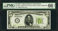 Small Size:Federal Reserve Notes, Fr. 1955-A $5 1934 Light Green Seal Federal Reserve Note. PMG Gem Uncirculated 66 EPQ.. ...