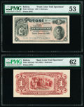 Bolivia Banco Potosi 1 Boliviano 1894 Pick S231cts1; S231cts2 Front and Back Color Trial Specimen PMG About Uncirculated...