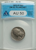 Errors, 1972-D 25C Washington Quarter -- Struck on 5C Planchet -- AU50 ANACS....