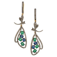 Diamond, Sapphire, Emerald, Silver Earrings