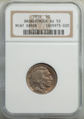 Errors, 1919 5C Buffalo Nickel -- Broadstruck -- AU50 NGC....