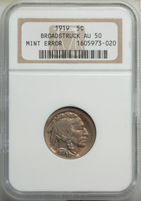 1919 5C Buffalo Nickel -- Broadstruck -- AU50 NGC