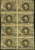 Fractional Currency:Second Issue, Fr. 1233 5¢ Second Issue Uncut Block of Eight Fine.. ...