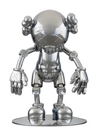 KAWS X Hajime Sorayama No Future Companion (Silver Chrome), 2008 Metallized plastic 12-1/2 x 7-3/4 x 7-3/4 inches (31