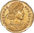 Ancients:Roman Imperial, Ancients: Constans, as Augustus (AD 337-350). AV solidus (22mm, 4.46 gm, 6h). NGC MS 5/5 - 4/5....