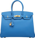 "Luxury Accessories:Bags, Hermès 35cm Blue Paradise Epsom Leather Birkin Bag with Gold Hardware. R Square, 2014. Condition: 1. 14"" Width x 1..."