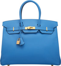 "Hermès 35cm Blue Paradise Epsom Leather Birkin Bag with Gold Hardware R Square, 2014 Condition: 1 14"" Width..."