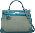 Luxury Accessories:Bags, Hermès 35cm Limited Edition Turquoise Clemence & Ciel Evergrain Leather and Veau Doblis Suede Ghillies Retourne Kelly Bag with...