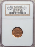 Errors, No Date 1C Memorial Reverse Lincoln Cent -- Obverse Counterbrockage --- MS64 Red NGC....
