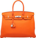 "Luxury Accessories:Bags, Hermès 35cm Feu Togo Leather Birkin Bag with Palladium Hardware. R Square, 2014. Condition: 2. 14"" Width x 10"" Hei..."