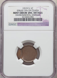 1919-S 1C Lincoln Cent -- Struck 75% Off Center, Environmental Damage -- NGC Details. Unc