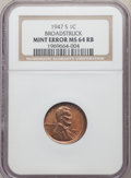 Errors, 1947-S 1C Lincoln Cent -- Broadstruck -- MS64 Red and Brown NGC....