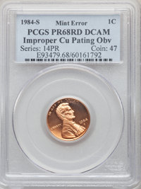 1984-S 1C Lincoln Cent -- Improper Copper Pating Obverse -- PR68 Red Deep Cameo PCGS